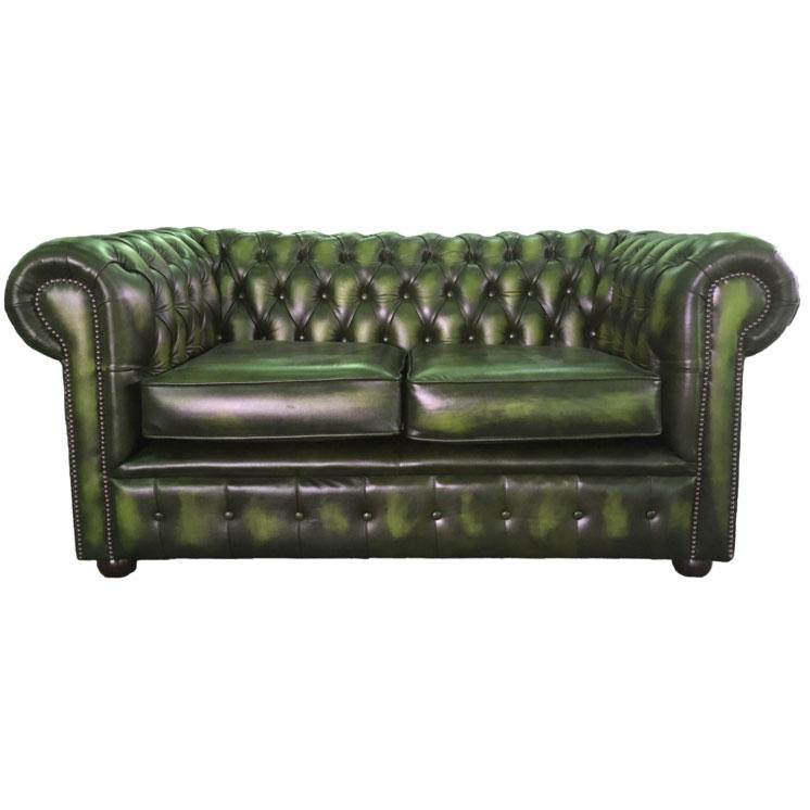 lit canap chesterfield en cuir v ritable deux places vert antique ebay. Black Bedroom Furniture Sets. Home Design Ideas